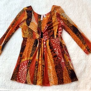 Sweet Pea by Stacy Frati Orange Print Top Size M